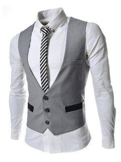 Hit Color Stereo Pocket Single-Breasted V-Neck Sleeveless Waistcoat For Men - Light Gray Xl