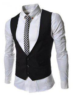 Hit Color Stereo Pocket Single-Breasted V-Neck Sleeveless Waistcoat For Men - Black 2xl