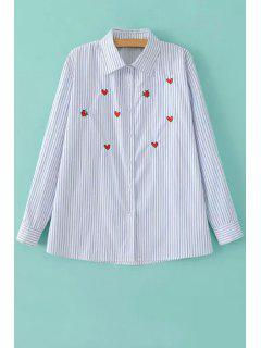 Long Sleeve Striped Heart Embroidered Shirt - Light Blue L