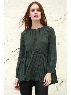 Solid Color Loose Fitting Long Sleeves Blouse - Blackish Green Xs