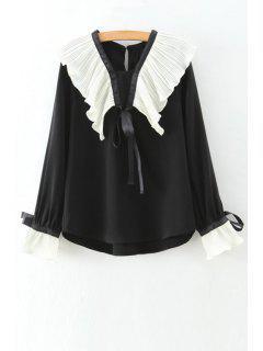 Lace Up Ruff Camisa De Cuello De Bell Manga - Negro L