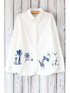 Long Sleeve Circus Print White Shirt - White