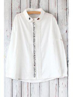 Lettre Brodé Chemise Blanche Plissée - Blanc