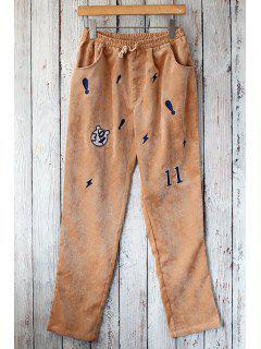 Embroidered Straight Leg Corduroy Pants - Light Brown