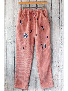 Embroidered Straight Leg Corduroy Pants - Pink
