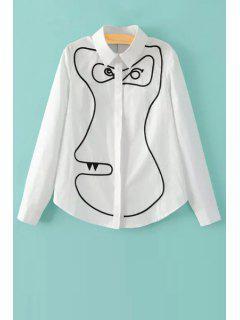 Cartoon Print Shirt Collar Long Sleeve Shirt - White L