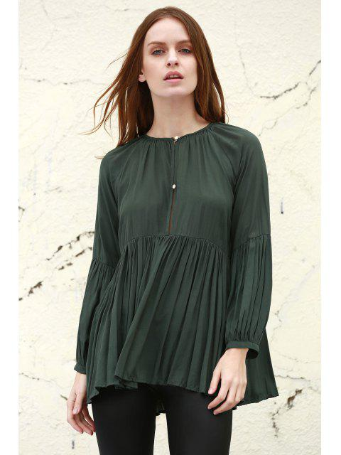 women Solid Color Loose Fitting Long Sleeves Blouse - BLACKISH GREEN M Mobile