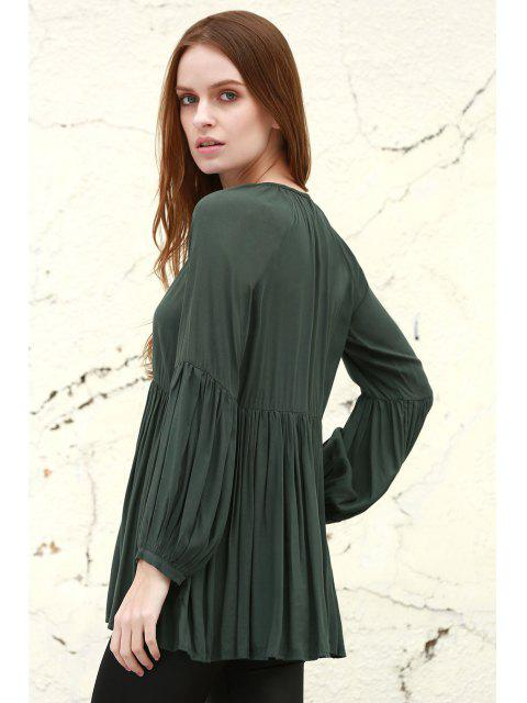 womens Solid Color Loose Fitting Long Sleeves Blouse - BLACKISH GREEN S Mobile