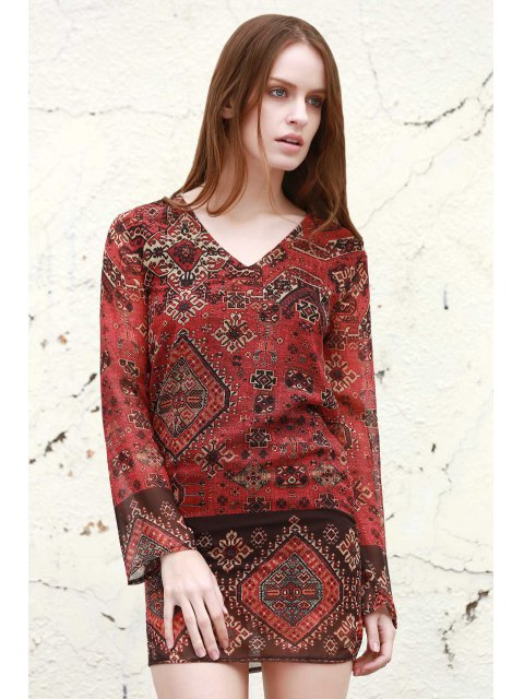 ladies Long Sleeve Rivet Embellished Printed Dress - RED S Mobile