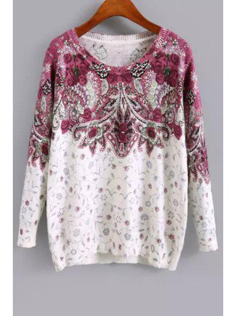 fashion Long Sleeve Purple Floral Sweater - WHITE M Mobile