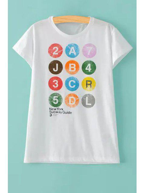 trendy Colorful Letter Print Round Collar Short Sleeve T-Shirt - WHITE M Mobile