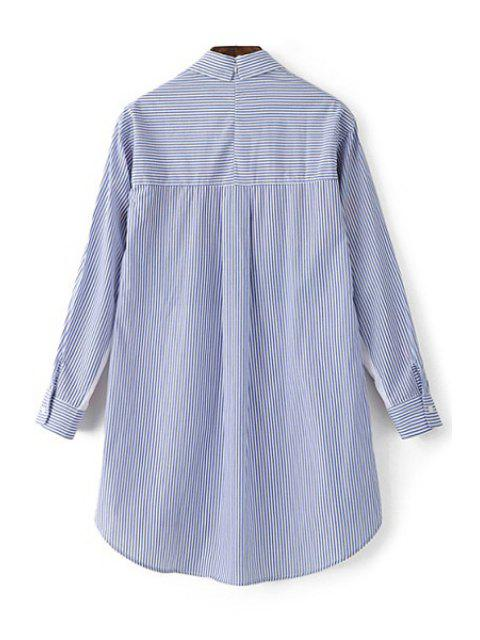 lady Printed Shirt Collar Long Sleeve Shirt - LIGHT BLUE L Mobile