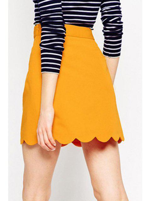 buy Solid Color Wave Hem A Line Skirt - YELLOW XL Mobile