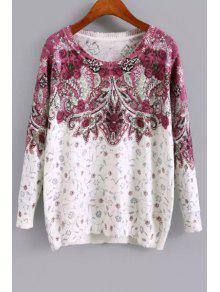Long Sleeve Purple Floral Sweater - White M