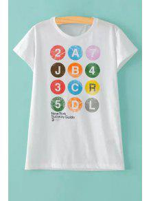 Colorful Letter Print Round Collar Short Sleeve T-Shirt - White M