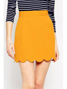 Solid Color Wave Hem A Line Skirt - Yellow Xl