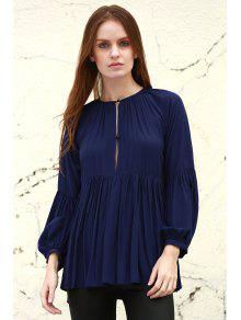Solid Color Loose Fitting Long Sleeves Blouse - Deep Blue S