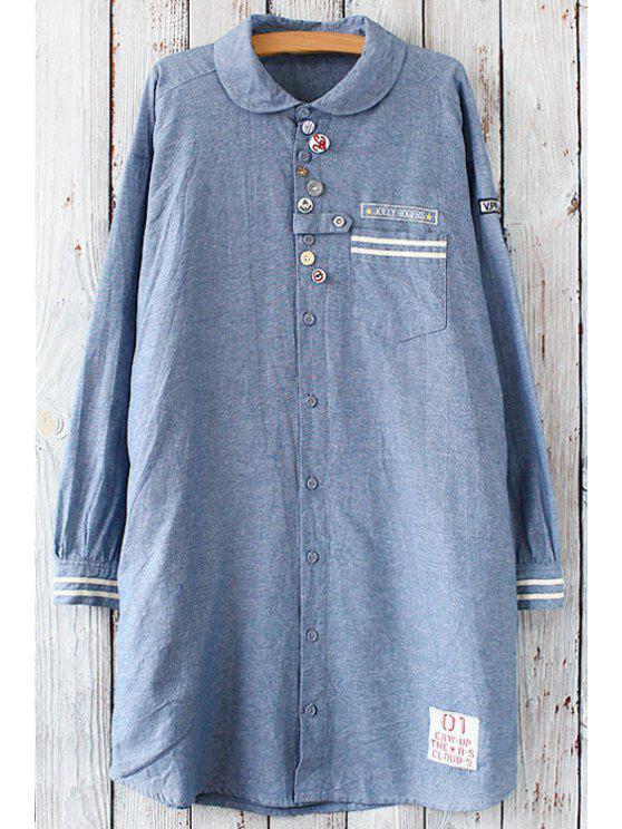 Applique button design tunic shirt blue blouses one size for Applique shirts for sale