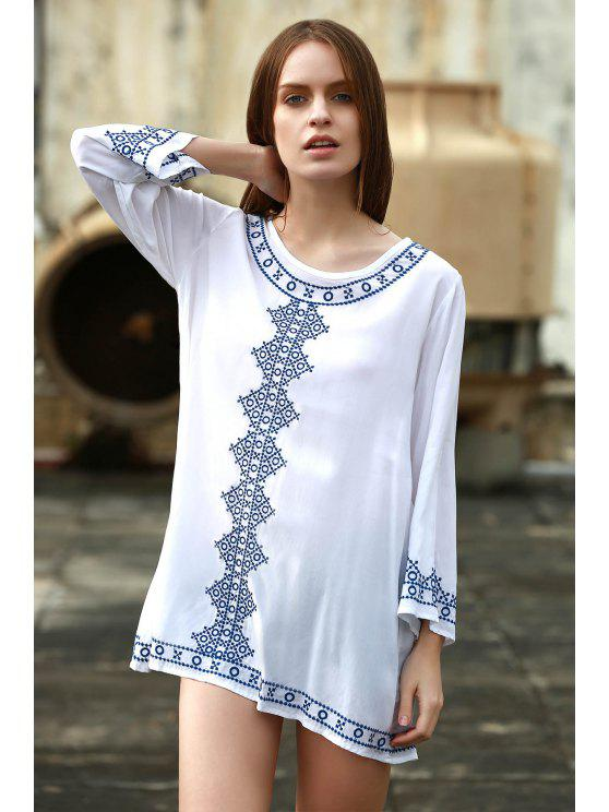 affordable V Neck Long Sleeve Straight Dress - WHITE ONE SIZE(FIT SIZE XS TO M)