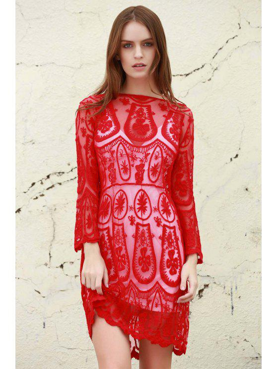 shops Solid Color See-Through 3/4 Sleeves Openwork Lace Dress - RED S
