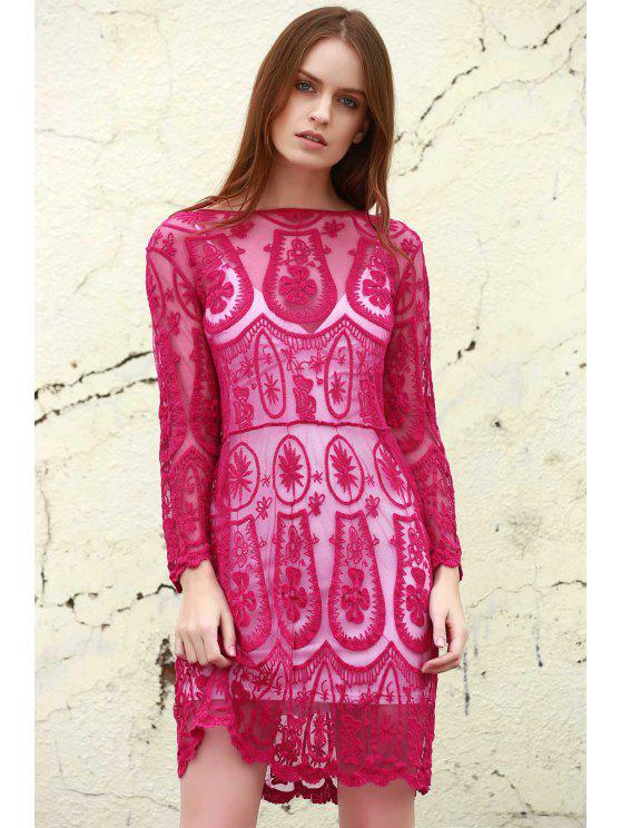 sale Solid Color See-Through 3/4 Sleeves Openwork Lace Dress - PINK XL
