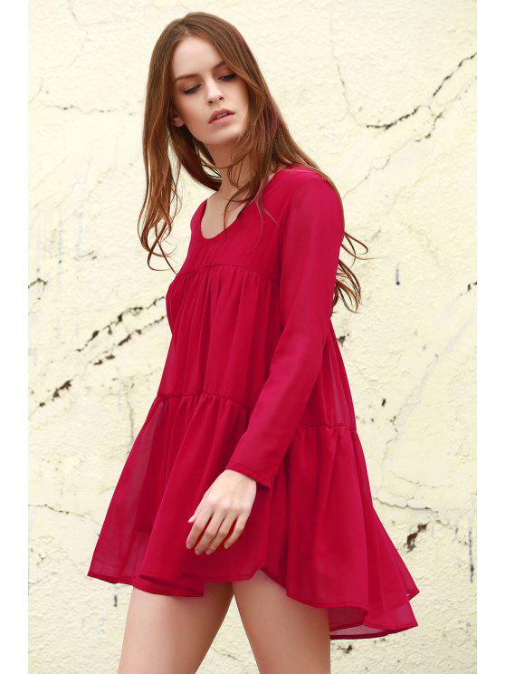 ladies Long Sleeve Chiffon Smock Dress - RED XL