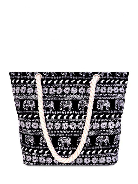 womens Canvas Animal Print Black Shoulder Bag - BLACK