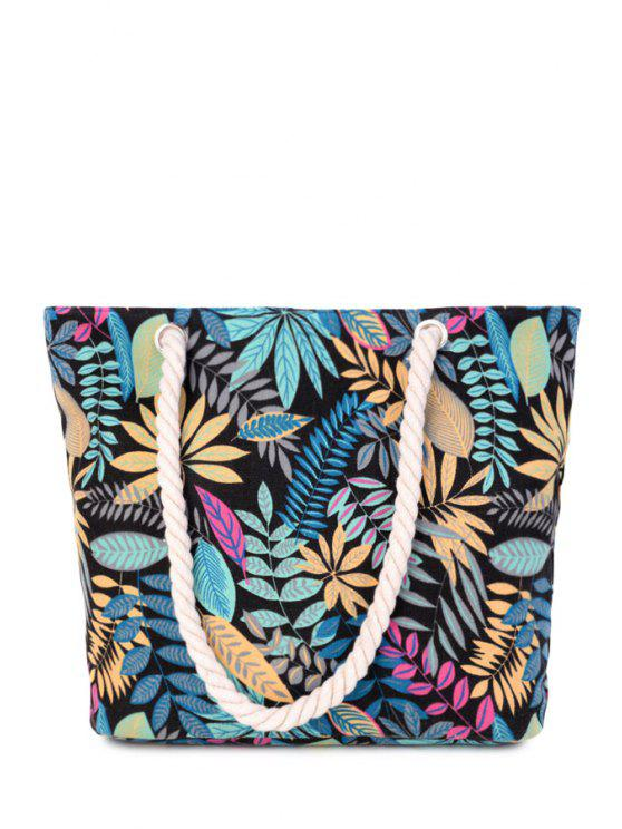 buy Canvas Leaf Print Color Block Shoulder Bag - BLACK