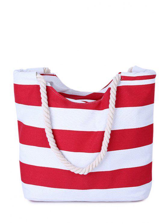 fancy Stripes Color Block Canvas Shoulder Bag - RED