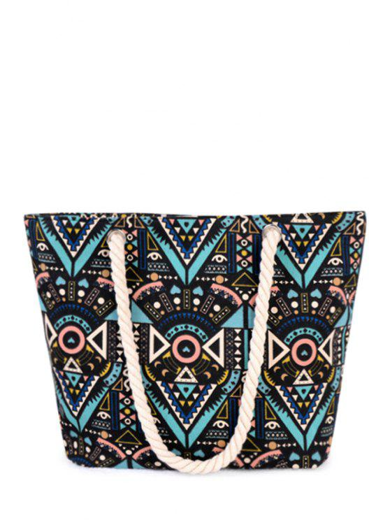 outfit Tribal Print Rope Canvas Shoulder Bag - BLACK
