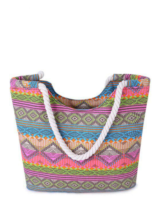 best Color Matching Tribal Print Canvas Shoulder Bag - COLORMIX
