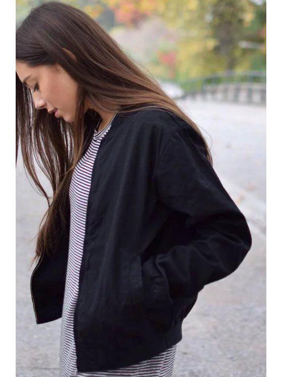 Color sólido del collar del soporte de la chaqueta de manga larga - Negro S