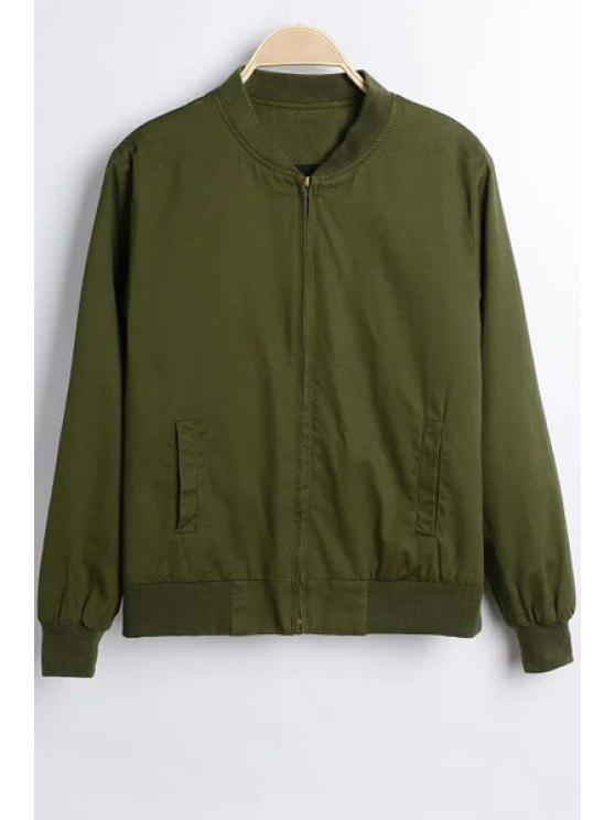Solid Color Fique Collar manga comprida Jacket - Verde M