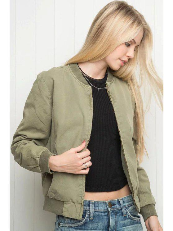 Solid Color Fique Collar manga comprida Jacket - Ervilha S