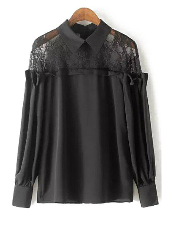 Lace Spliced ​​Camisa manga comprida Blusa Collar - Preto M