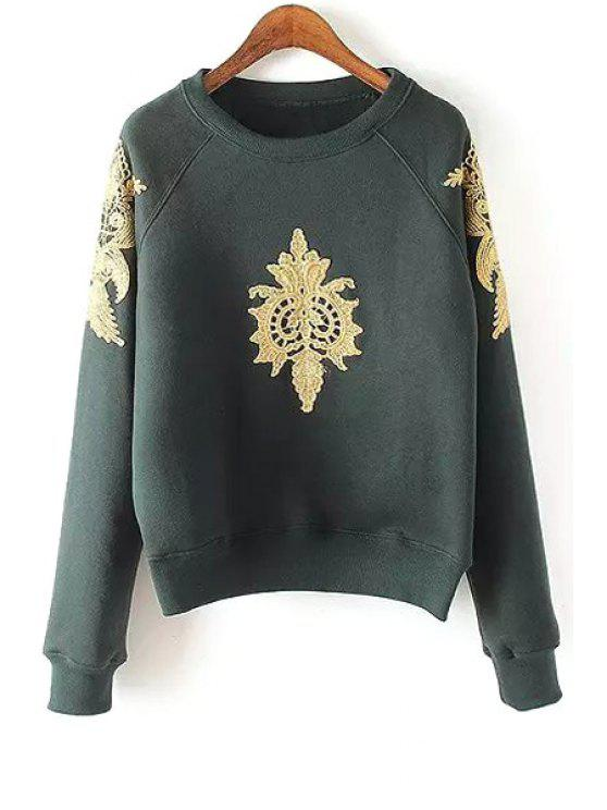 women Fil-Lumiere Patch Round Collar Long Sleeve Sweatshirt - BLACKISH GREEN L