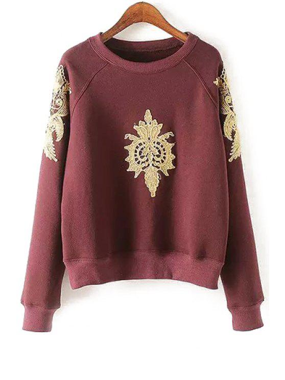 buy Fil-Lumiere Patch Round Collar Long Sleeve Sweatshirt - WINE RED L