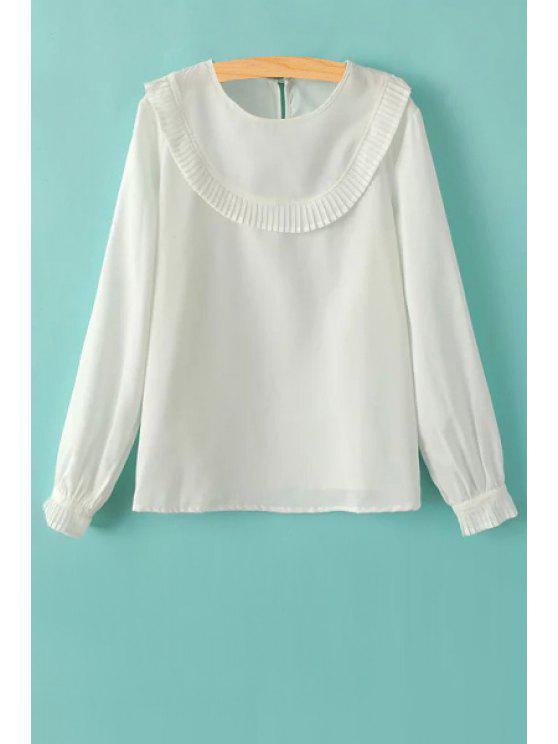 Ruffles Spliced ​​Round Collar T-shirt de manga comprida - Branco S
