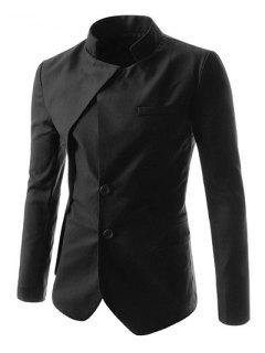 Faux Twinset Irregular Hem Solid Color Stand Collar Long Sleeves Blazer For Men - Black 2xl