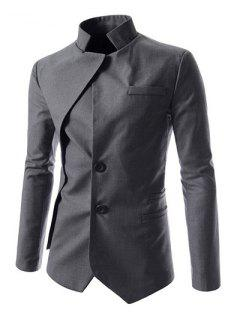 Faux Twinset Irregular Hem Solid Color Stand Collar Long Sleeves Blazer For Men - Deep Gray L