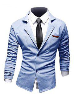 Casual Lapel PU Leather Spliced Single-Breasted Long Sleeves Blazer For Men - Blue Xl