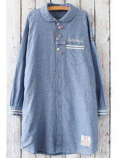 Applique Button Design Tunic Shirt - Blue