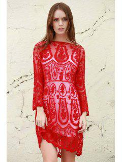 Solid Color See-Through 3/4 Sleeves Openwork Lace Dress - Red L