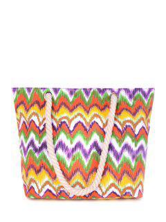 Wavy Stripe Color Block Canvas Shoulder Bag