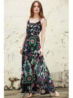 Colorful Printed Cami Maxi Dress - Black M