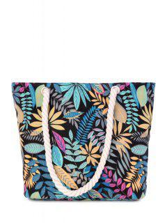 Canvas Leaf Print Color Block Shoulder Bag - Black