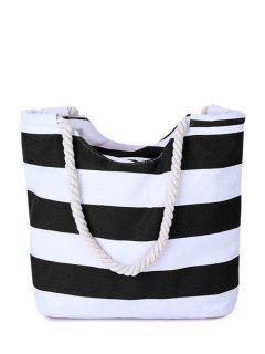 Stripes Color Block Canvas Shoulder Bag - Black