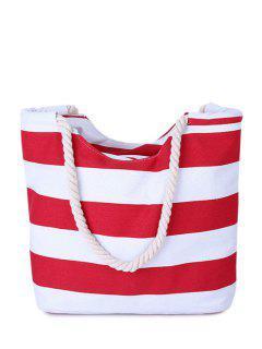 Stripes Color Block Canvas Shoulder Bag - Red