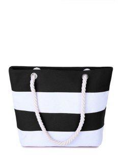Stripe Color Block Canvas Shoulder Bag - White And Black