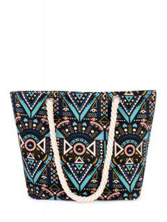 Tribal Print Rope Canvas Shoulder Bag - Black